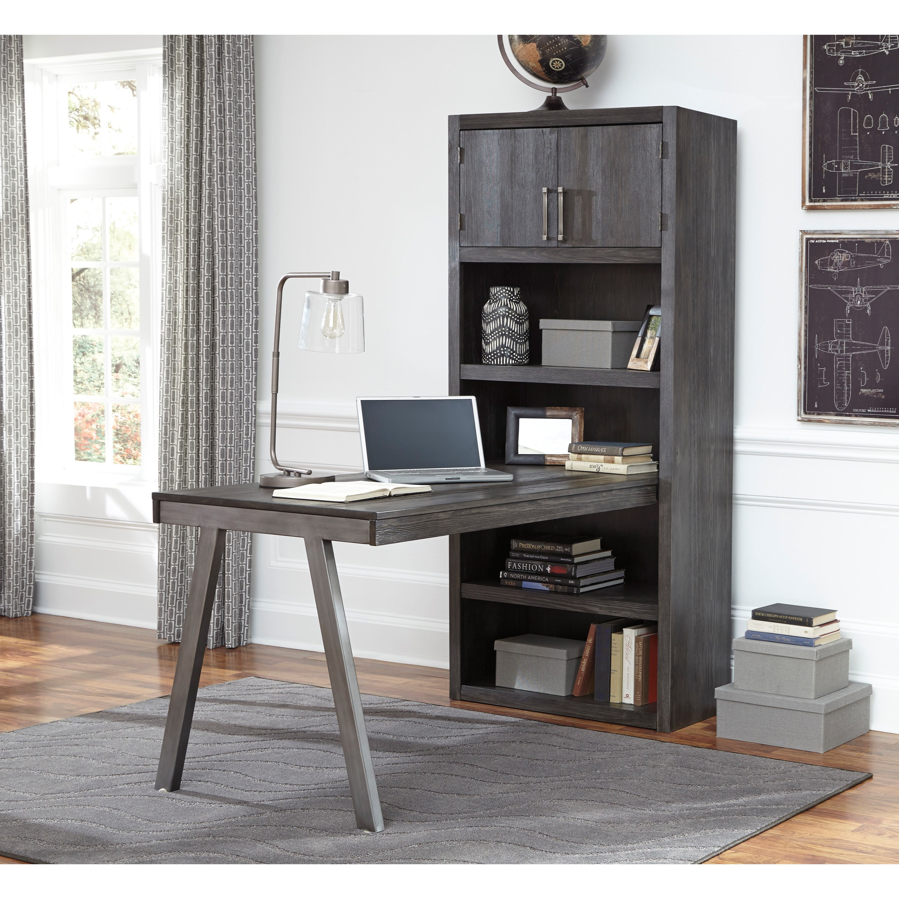 Signature Design By Ashley Raventown Contemporary Metal Wood Desk Return Large Bookcase In