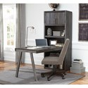 Signature Design by Ashley Raventown Contemporary Metal/Wood Desk Return & Large Bookcase in Grayish Brown Finish