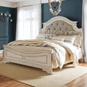 Signature Design by Ashley Realyn King Upholstered Panel Bed with Button Tufting
