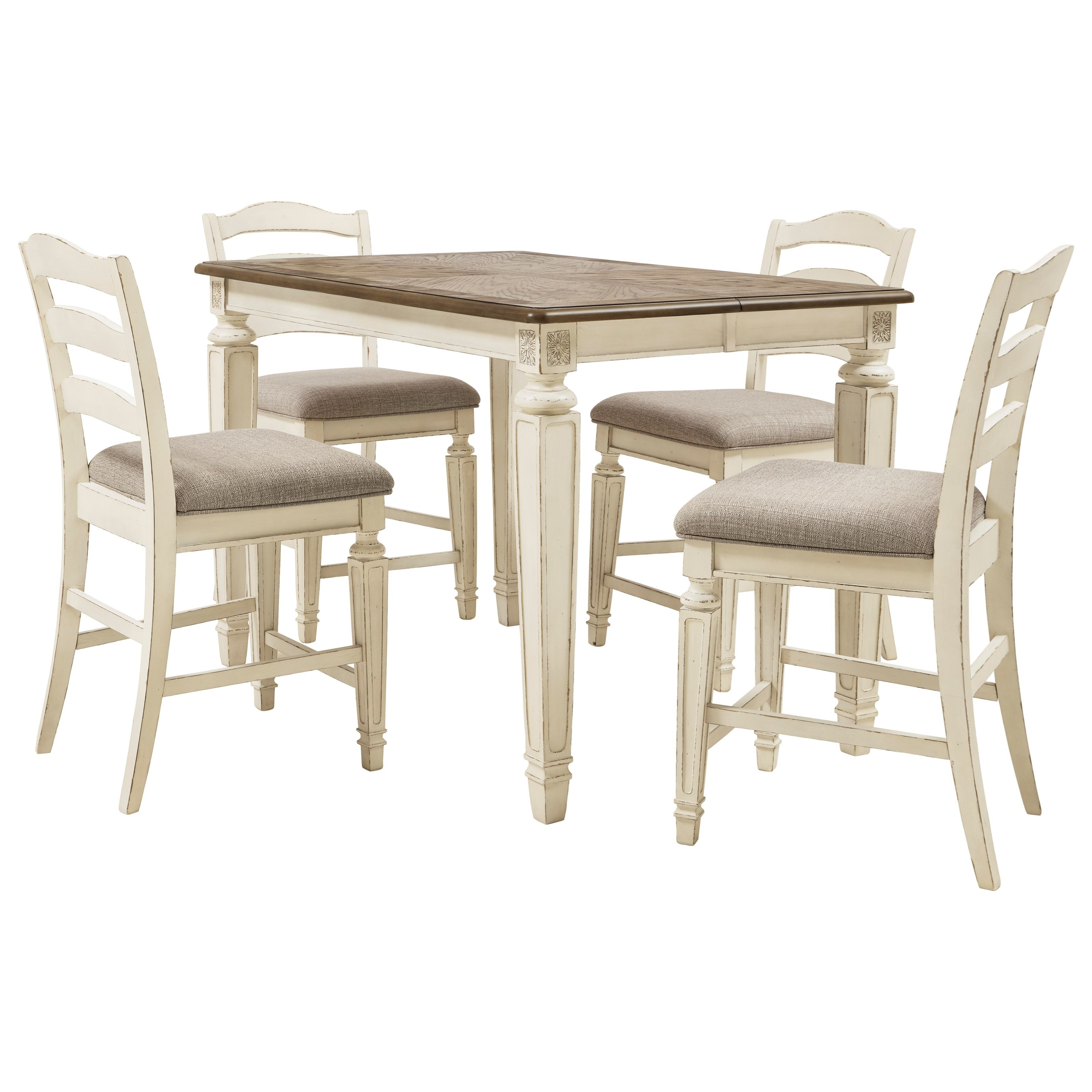 Ashley Furniture Signature Design Realyn 5 Piece Counter Extension Table Set Del Sol Furniture Pub Table And Stool Sets