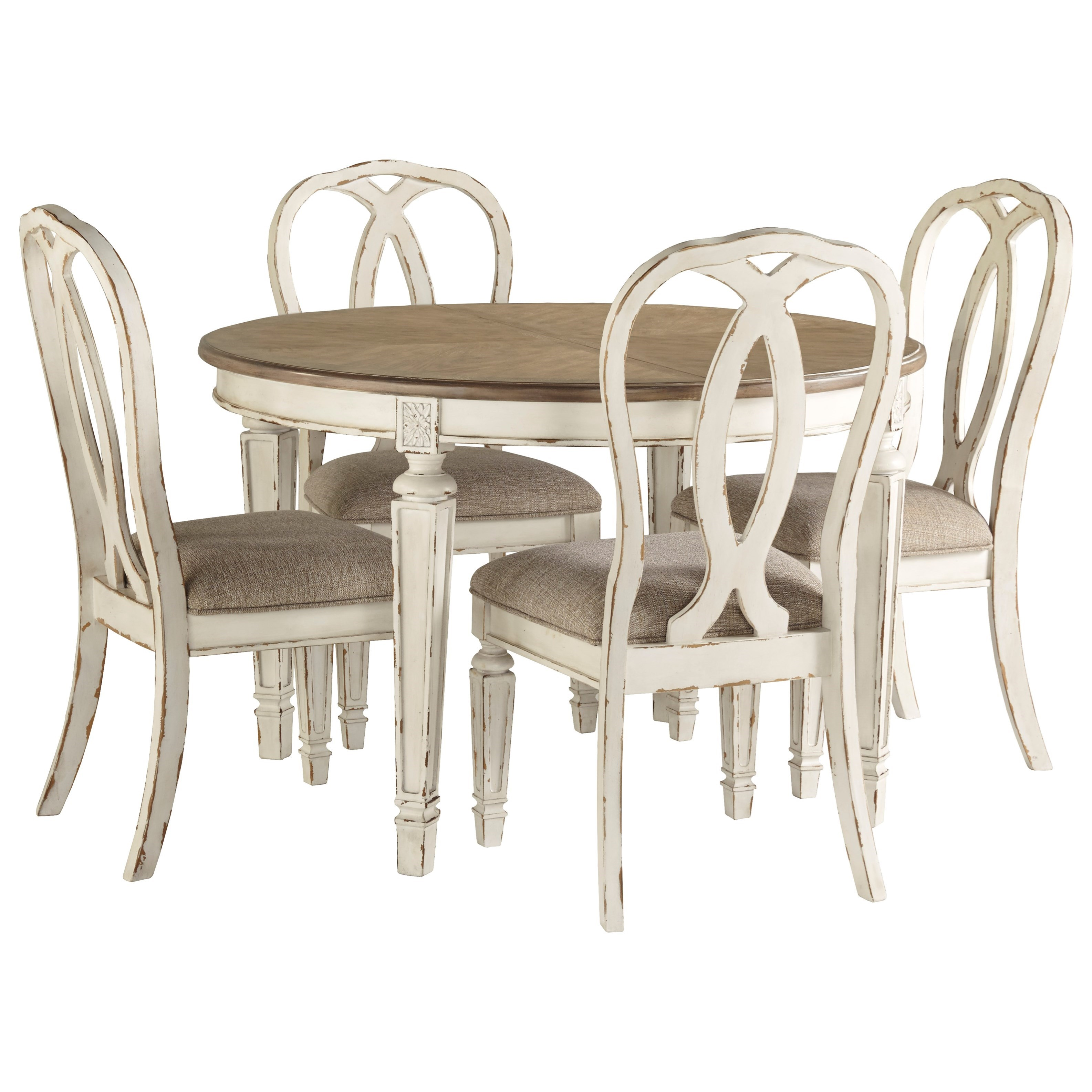 Round Table And Chairs Set: Realyn 5-Piece Round Table And Chair Set