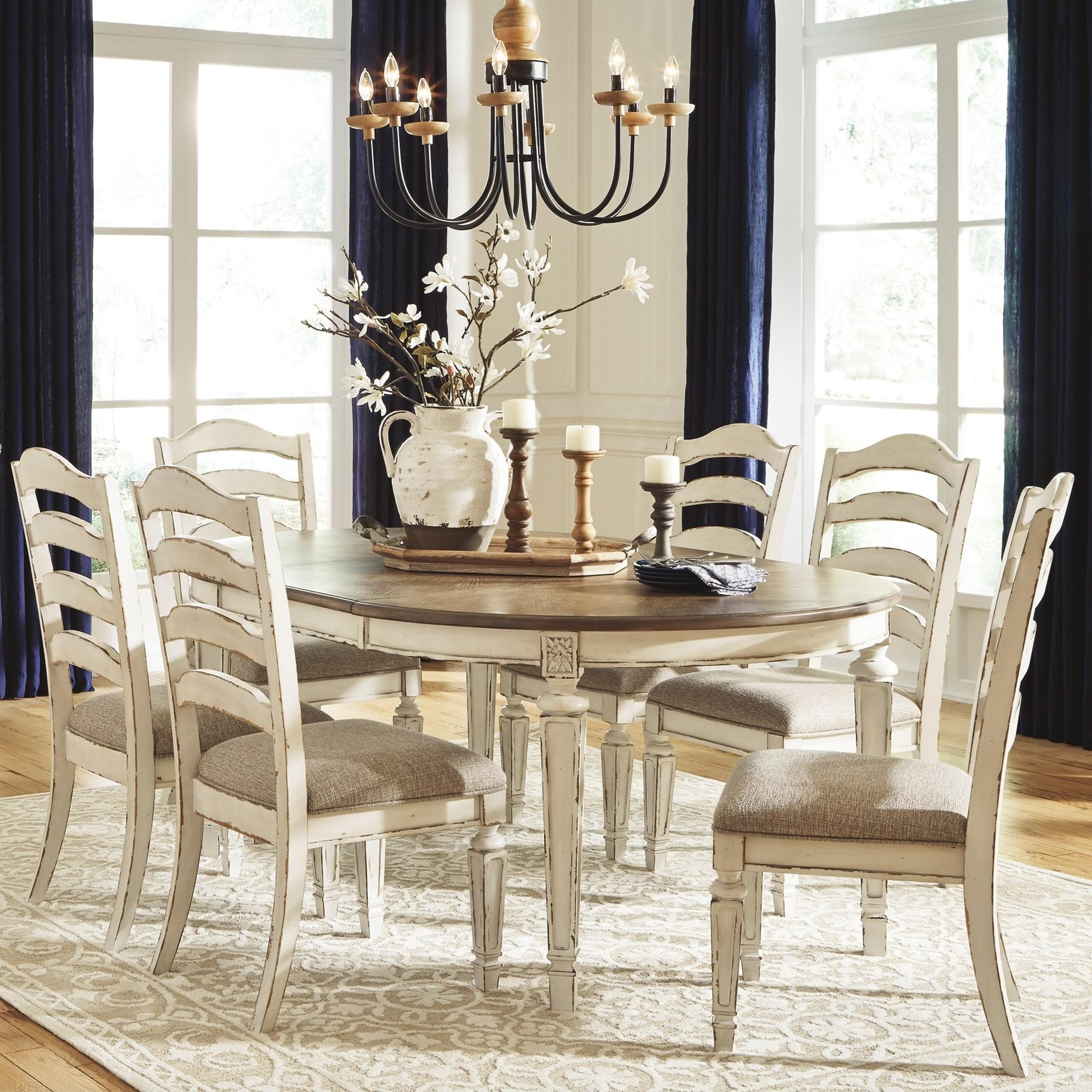 ashley furniture dining set with amazing | Signature Design by Ashley Realyn 7-Piece Round Table and ...