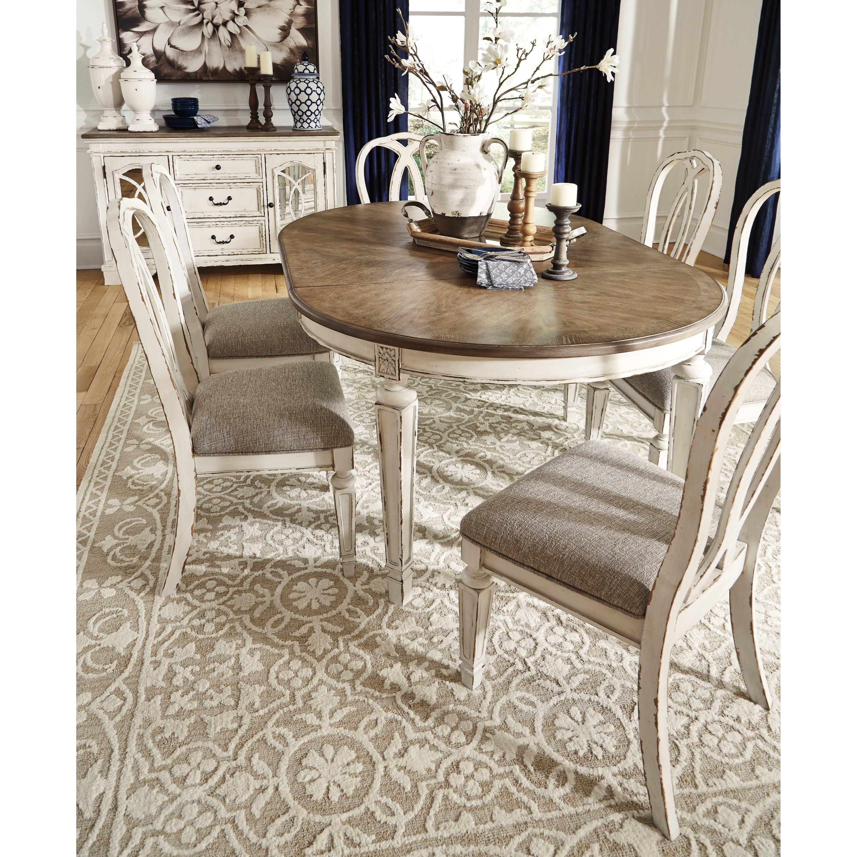 Signature Design By Ashley Furniture Hayley 7 Piece Dining: Signature Design By Ashley Realyn 7-Piece Round Table And
