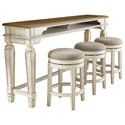 Signature Design by Ashley Realyn Long Counter Table w/ 3 Stools - Item Number: D743-52+3x024