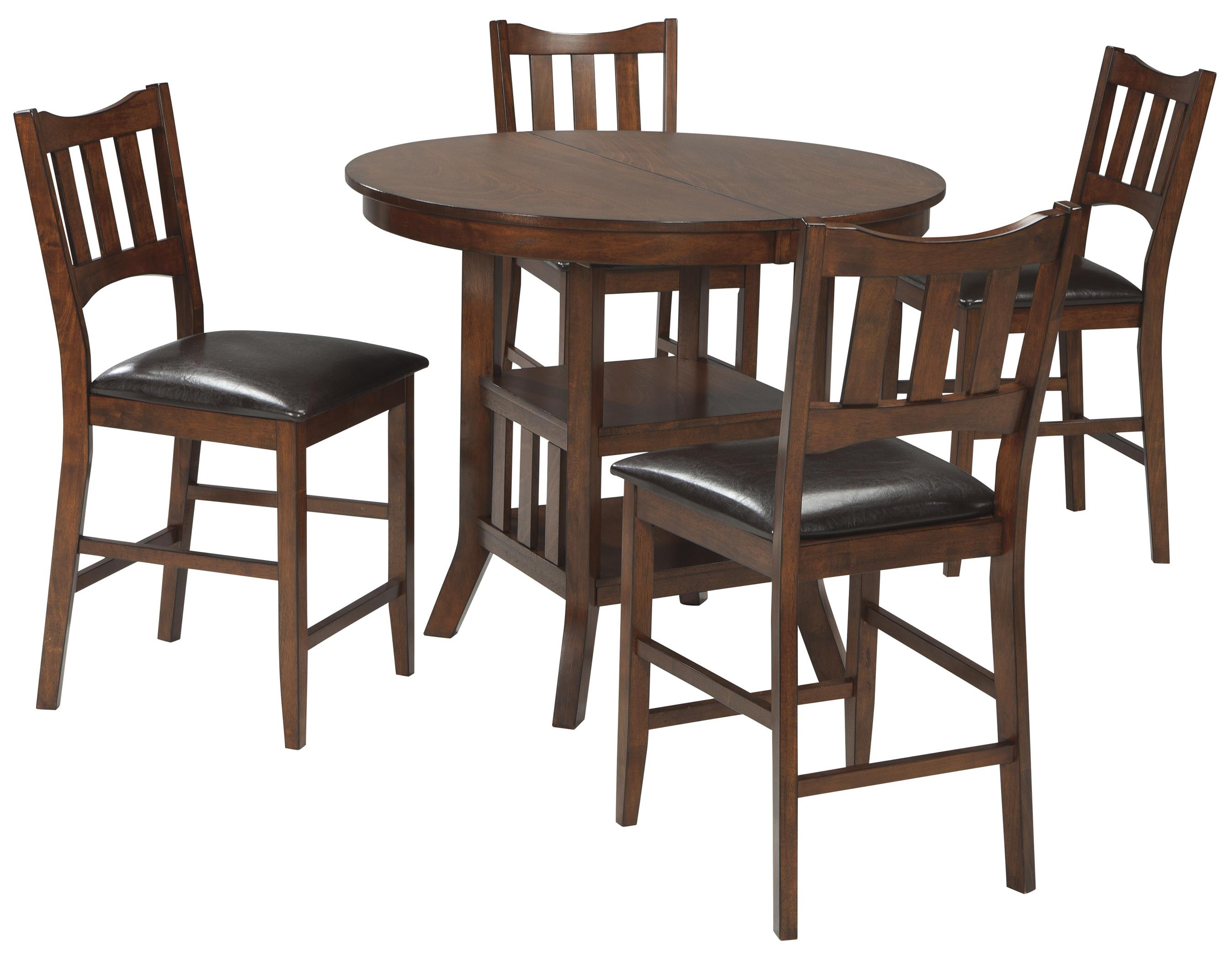 Signature Design by Ashley Renaburg 5-Piece Oval Counter Extension Table Set - Item Number: D574-42+4x124