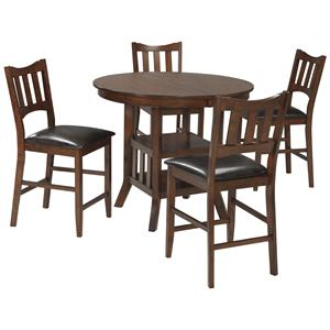 Signature Design by Ashley Renaburg 5-Piece Oval Counter Extension Table Set