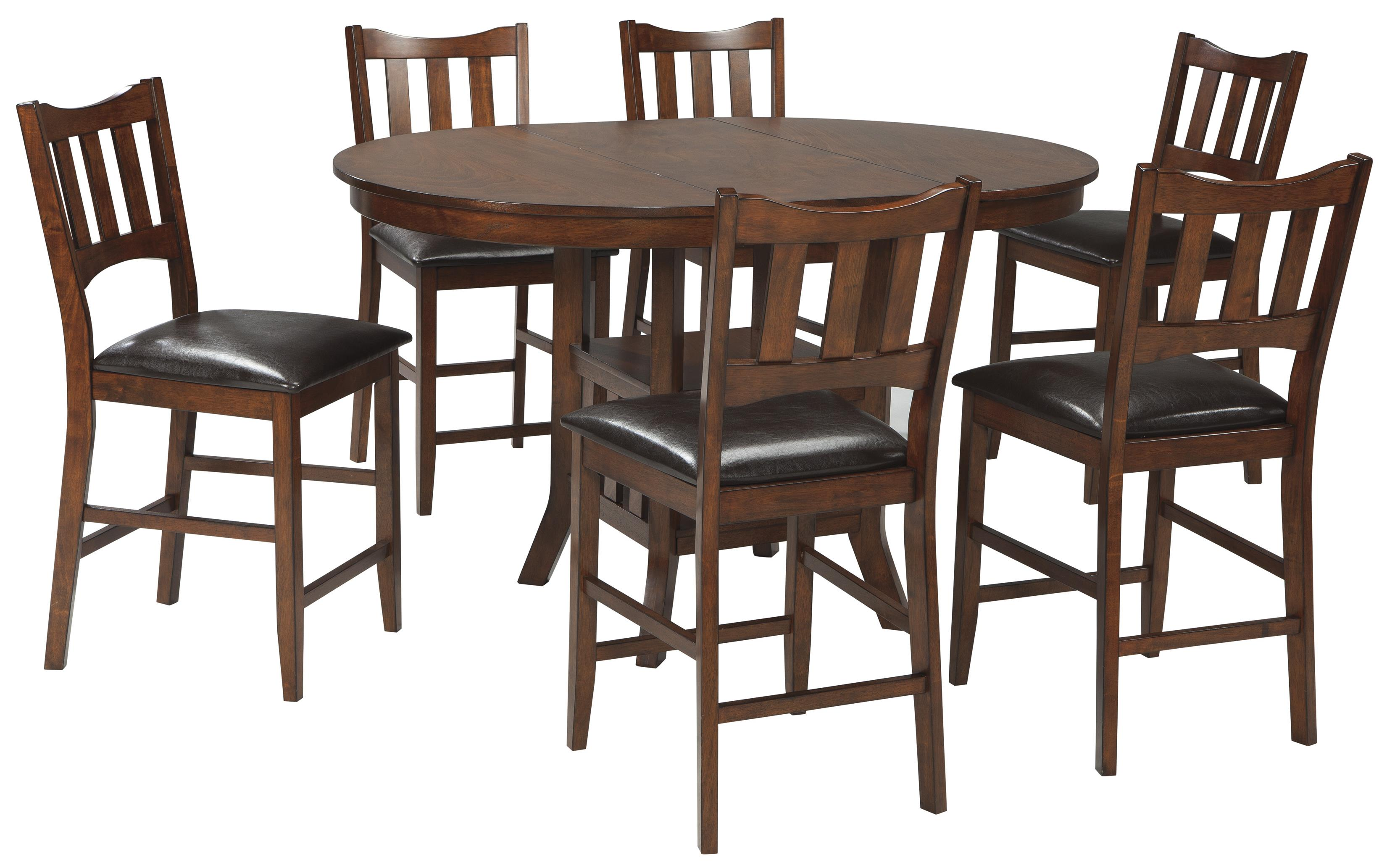 Signature Design by Ashley Renaburg 7-Piece Oval Counter Extension Table Set - Item Number: D574-42+6x124