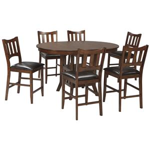 Signature Design by Ashley Renaburg 7-Piece Oval Counter Extension Table Set