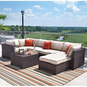 Signature Design by Ashley Renway Outdoor Sectional Set with Cocktail Table