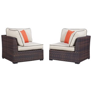 Signature Design by Ashley Renway Set of 2 Corner Chairs with Cushion