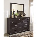 Signature Design by Ashley Reylow Contemporary 6 Drawer Dresser and Mirror Set