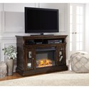 Signature Design by Ashley Roddinton Transitional Medium TV Stand with Fireplace