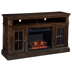 Signature Design by Ashley Roddinton Large TV Stand with Fireplace