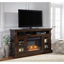Signature Design by Ashley Roddinton Transitional Large TV Stand with Fireplace & 2 Glass Doors