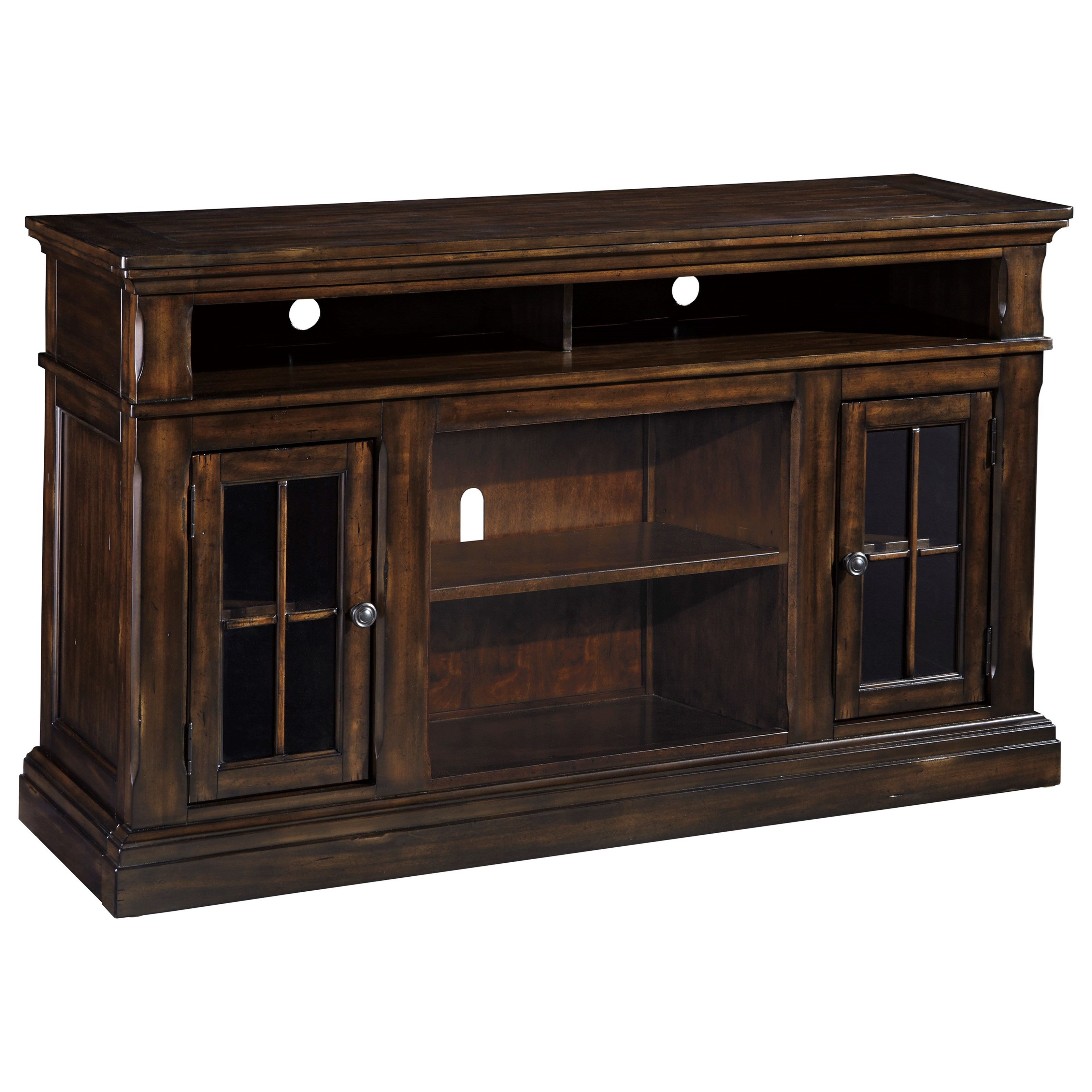Ashley Signature Design Roddinton W701 58 Transitional Large Tv Stand With 2 Glass Doors Dunk