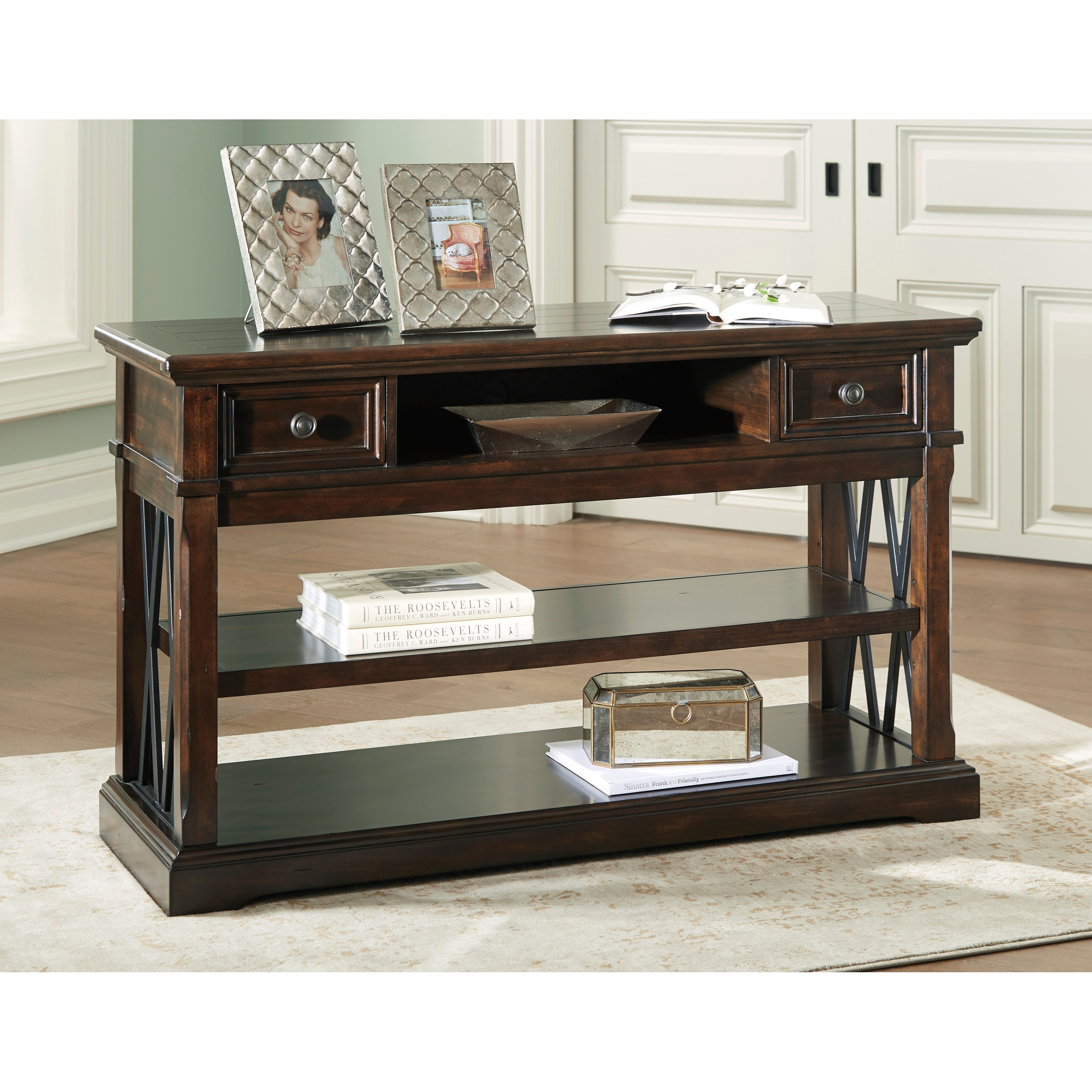 Signature Design By Ashley Roddinton Sofa Table With Metal X Panels Miskelly Furniture Sofa