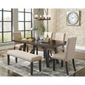 Signature Design by Ashley Rokane Large Upholstered Dining Bench with Solid Wood Legs