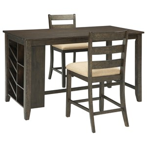 Signature Design by Ashley Rokane 3-Piece Rectangular Counter Table Set
