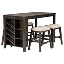 Signature Design by Ashley Rokane 5-Piece Rectangular Counter Table Set - Item Number: D397-32+4x024