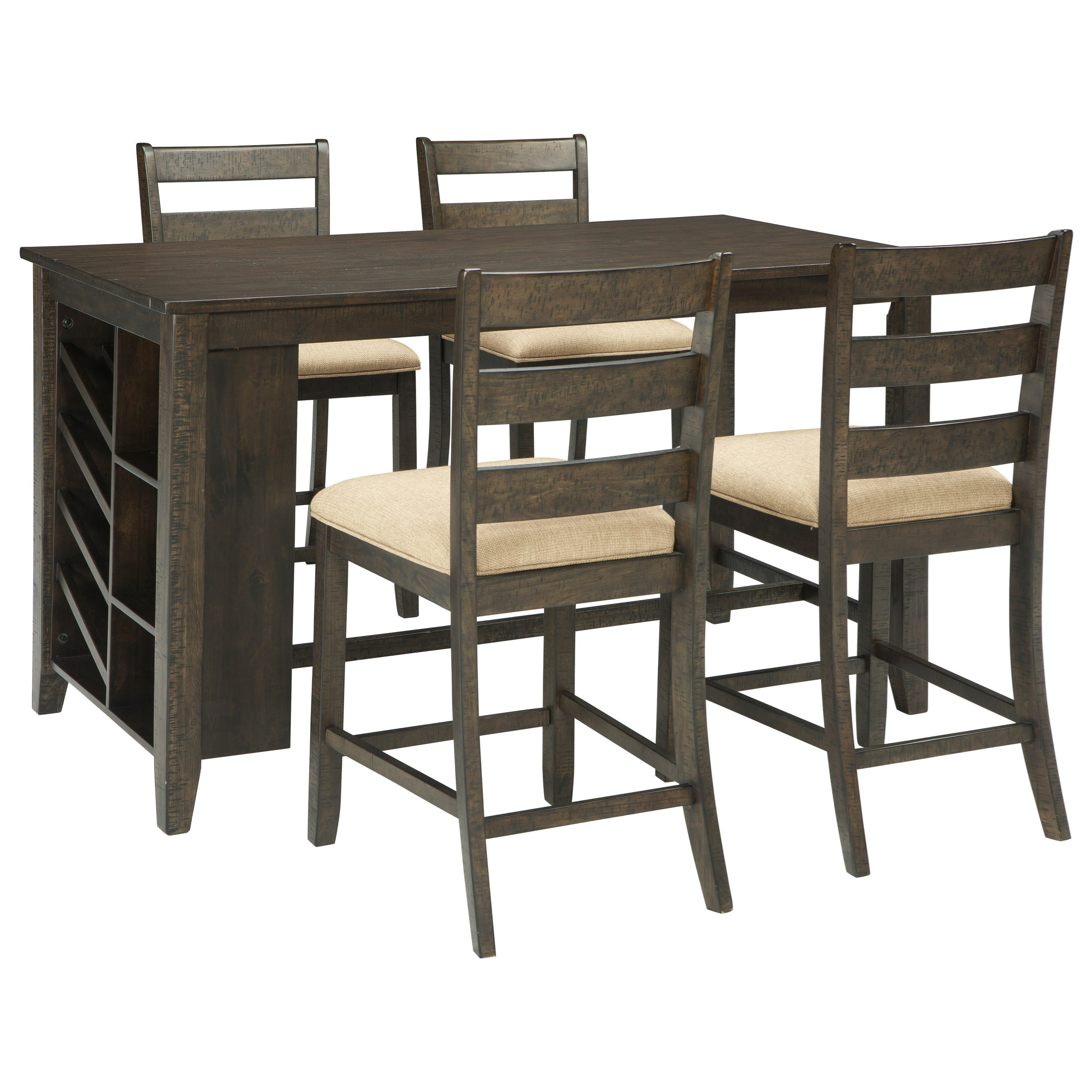 Ashley Signature Design Rokane 5 Piece Rectangular Counter Table W Storage Set Dunk Bright