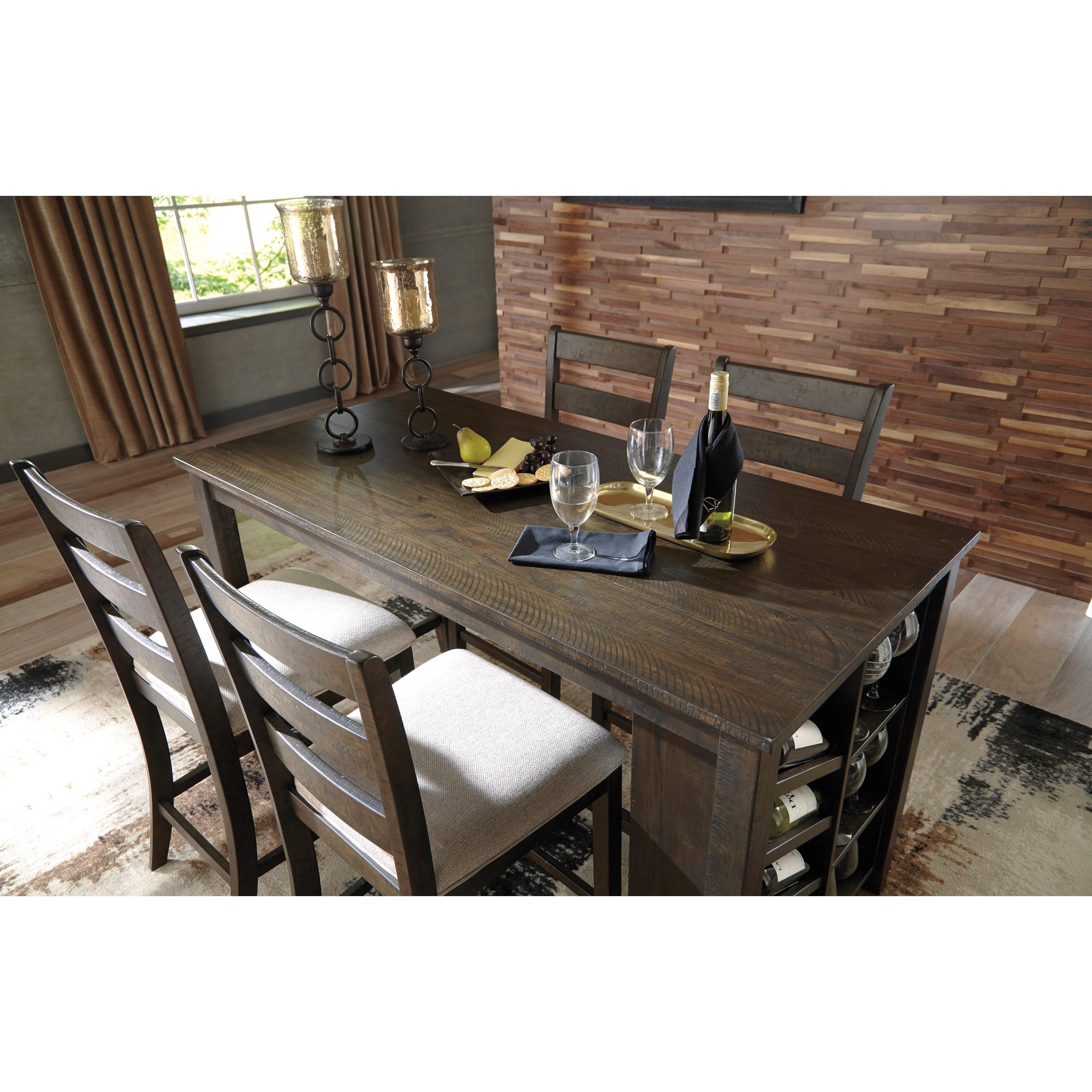 signature design by rokane 5 rectangular counter table w storage set royal