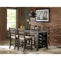 Signature Design by Ashley Rokane Rectangular Counter Table w/ Storage and Wine Rack