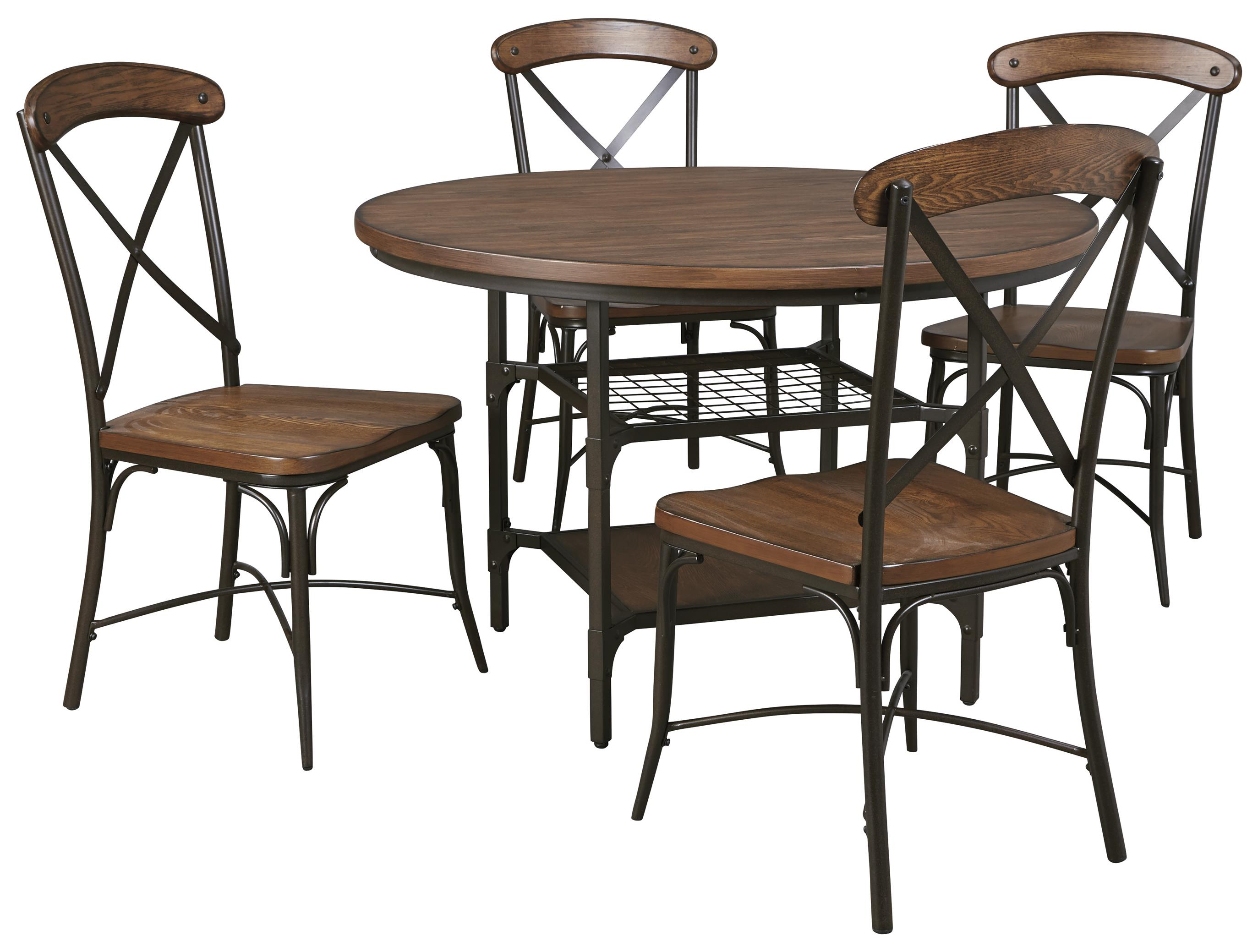 Signature Design by Ashley Rolena 5-Piece Round Dining Room Table Set - Item Number: D405-15+4x01