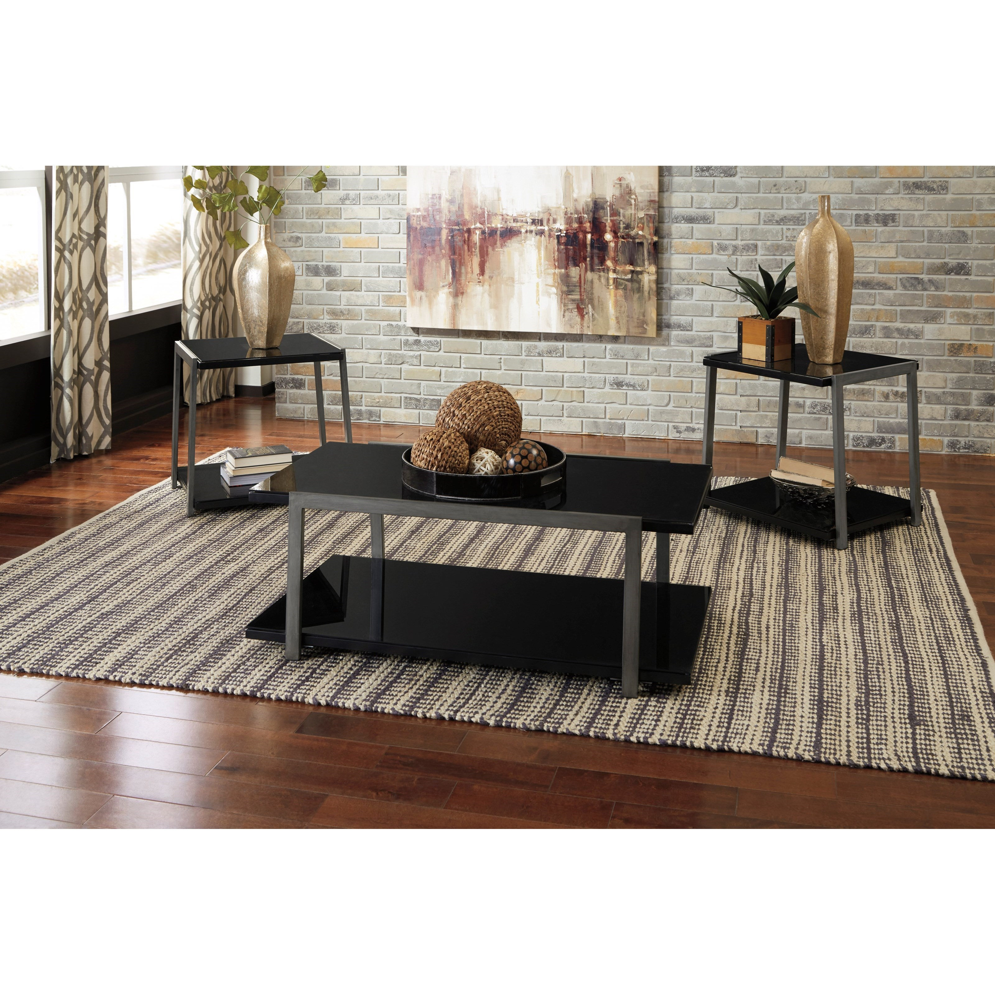 T049 13 Ashley Furniture Banilee Living Room Occasional: Signature Design By Ashley Rollynx Black Glass/Silver