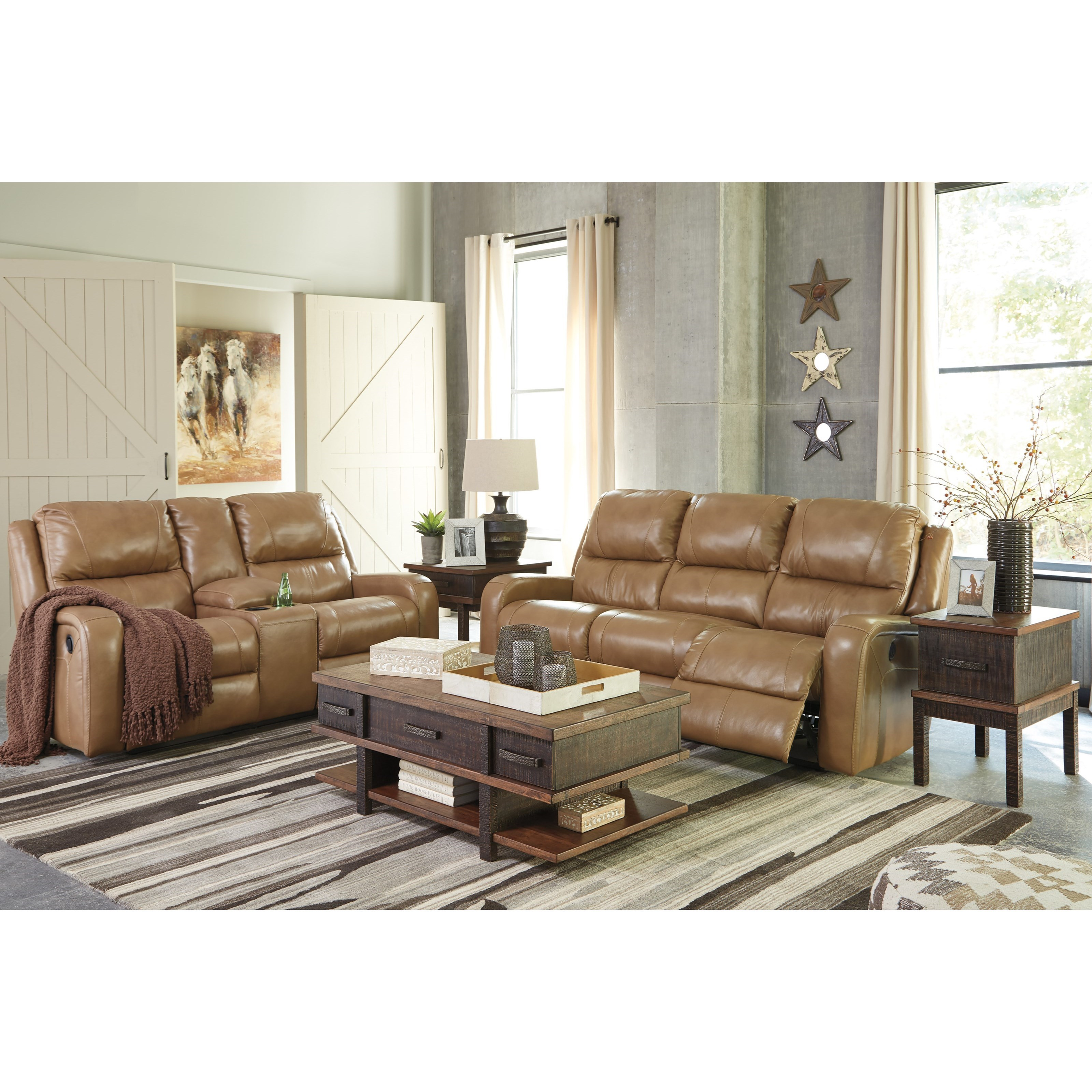 Ashley Signature Design Roogan U6070196 Contemporary Power Reclining Love Seat With Storage