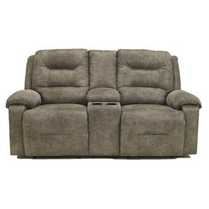 Signature Design by Ashley Rotation - Smoke Manual Reclining Loveseat w/Console