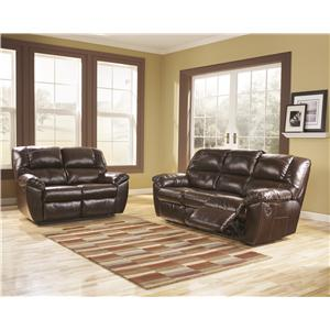 Signature Design by Ashley Rouge DuraBlend - Mahogany Reclining Living Room Group