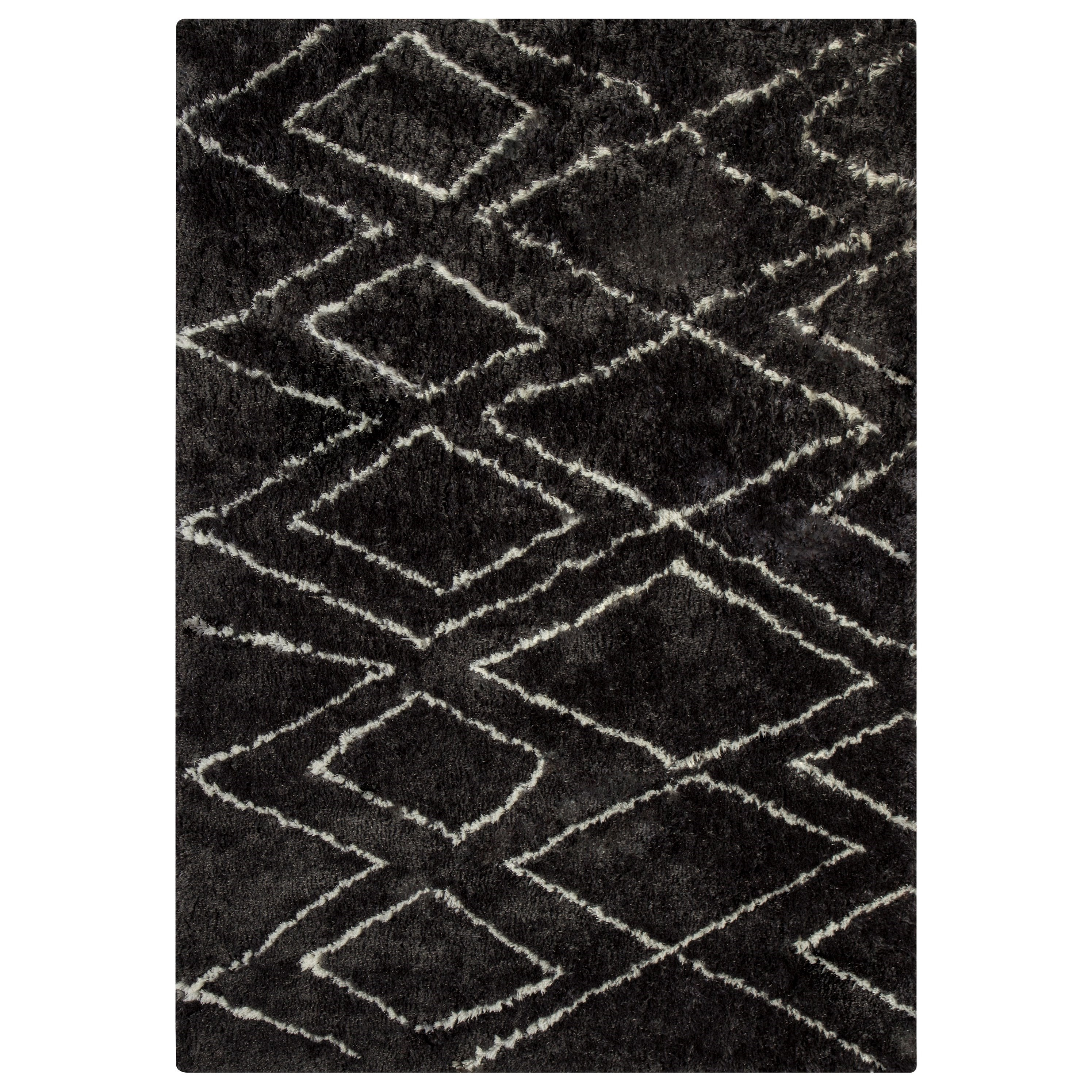 Signature Design by Ashley Contemporary Area Rugs Deryn Black/White Medium Rug - Item Number: R400242