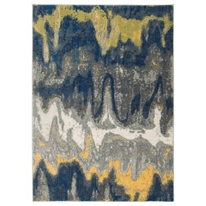 Ashley Signature Design Contemporary Area Rugs Alanson Blue/Gray/Yellow Medium Rug