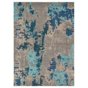 Ashley Signature Design Contemporary Area Rugs Maynard Gray/Blue Medium Rug