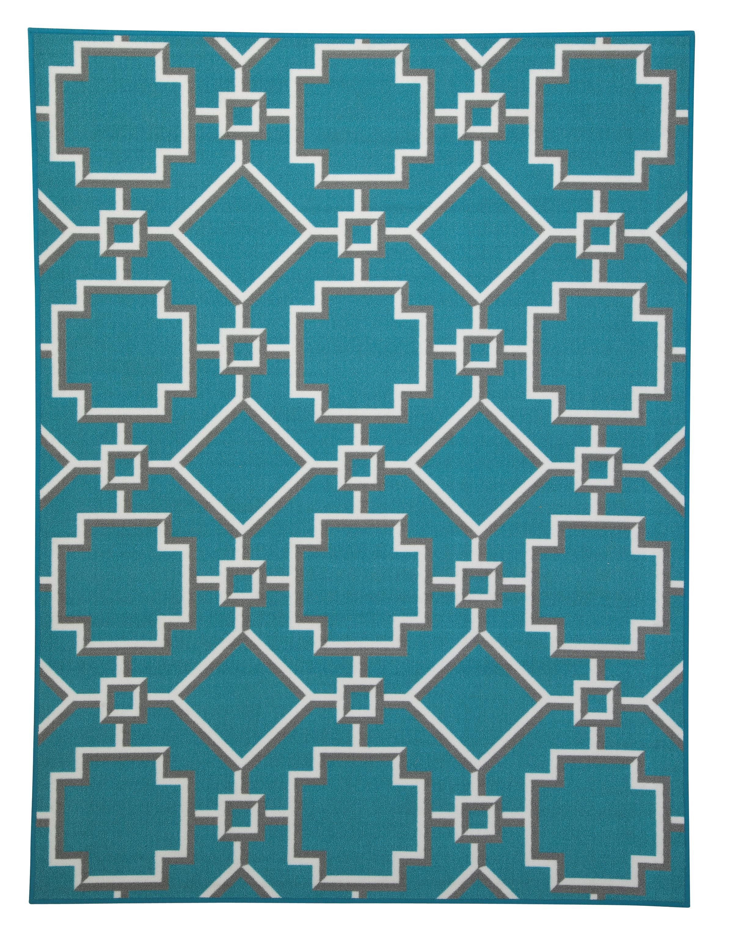 Signature Design by Ashley Transitional Area Rugs Zarek Turquoise Medium Rug - Item Number: R295002