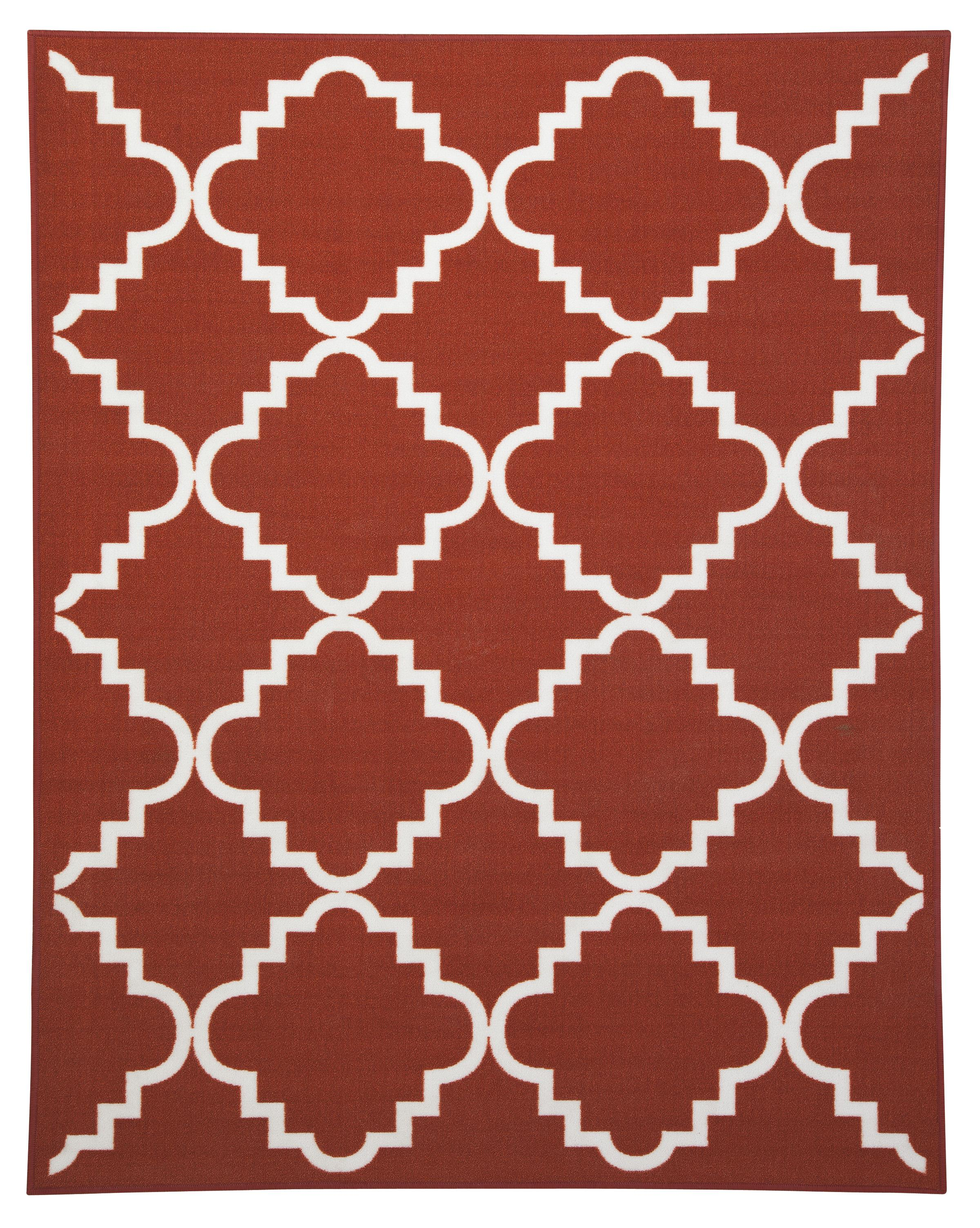 Signature Design by Ashley Transitional Area Rugs Bandele Orange/White Medium Rug - Item Number: R307002