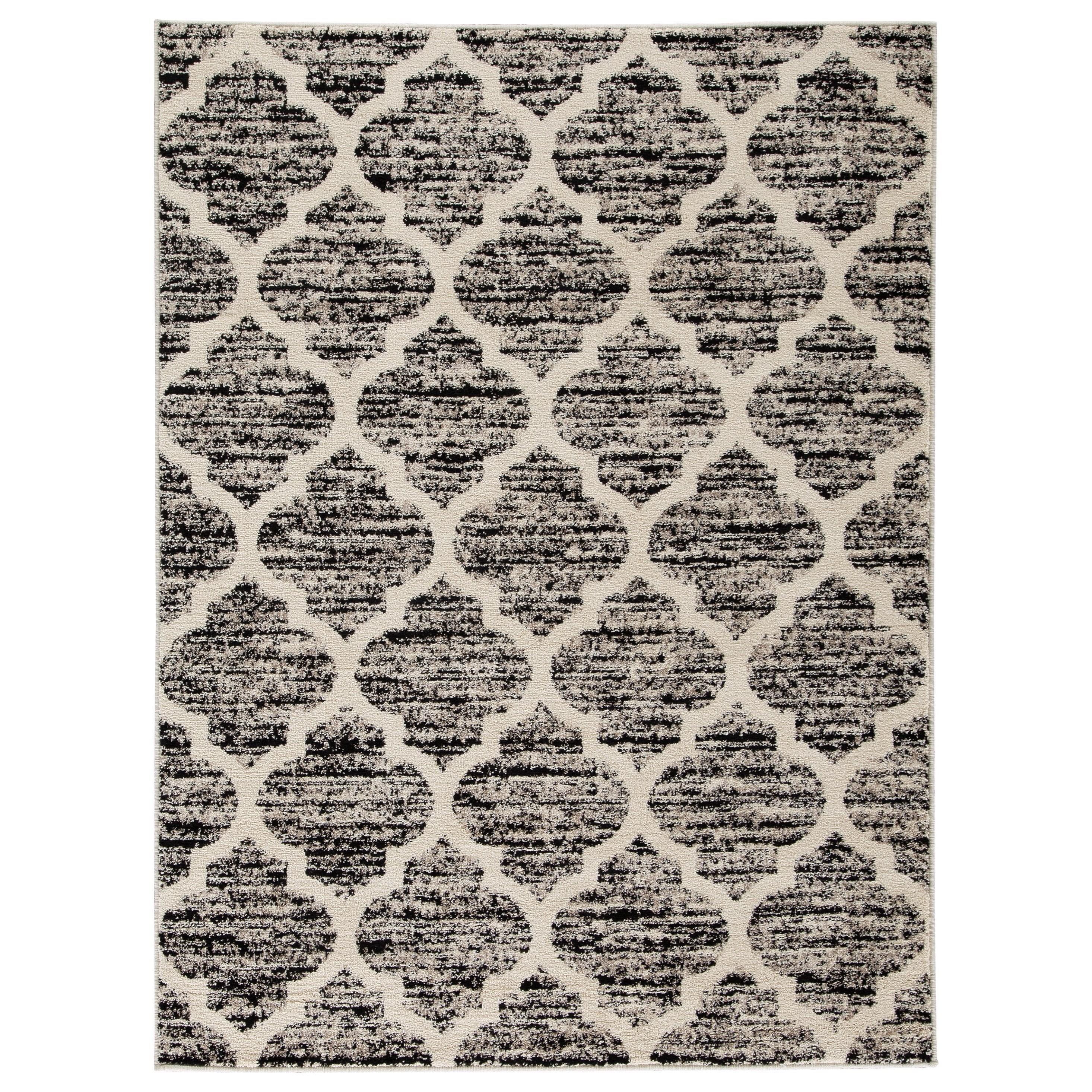 Transitional Area Rugs Kaila Black Cream Gray Large Rug By Signature Design By Ashley At Royal Furniture