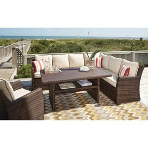 Ashley (Signature Design) Salceda Outdoor Sectional with Table & Lounge Chair
