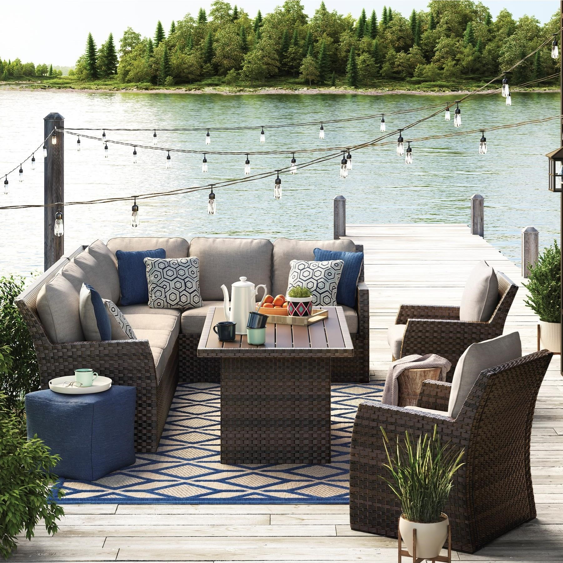 Outdoor Sectional with Table & Lounge Chairs