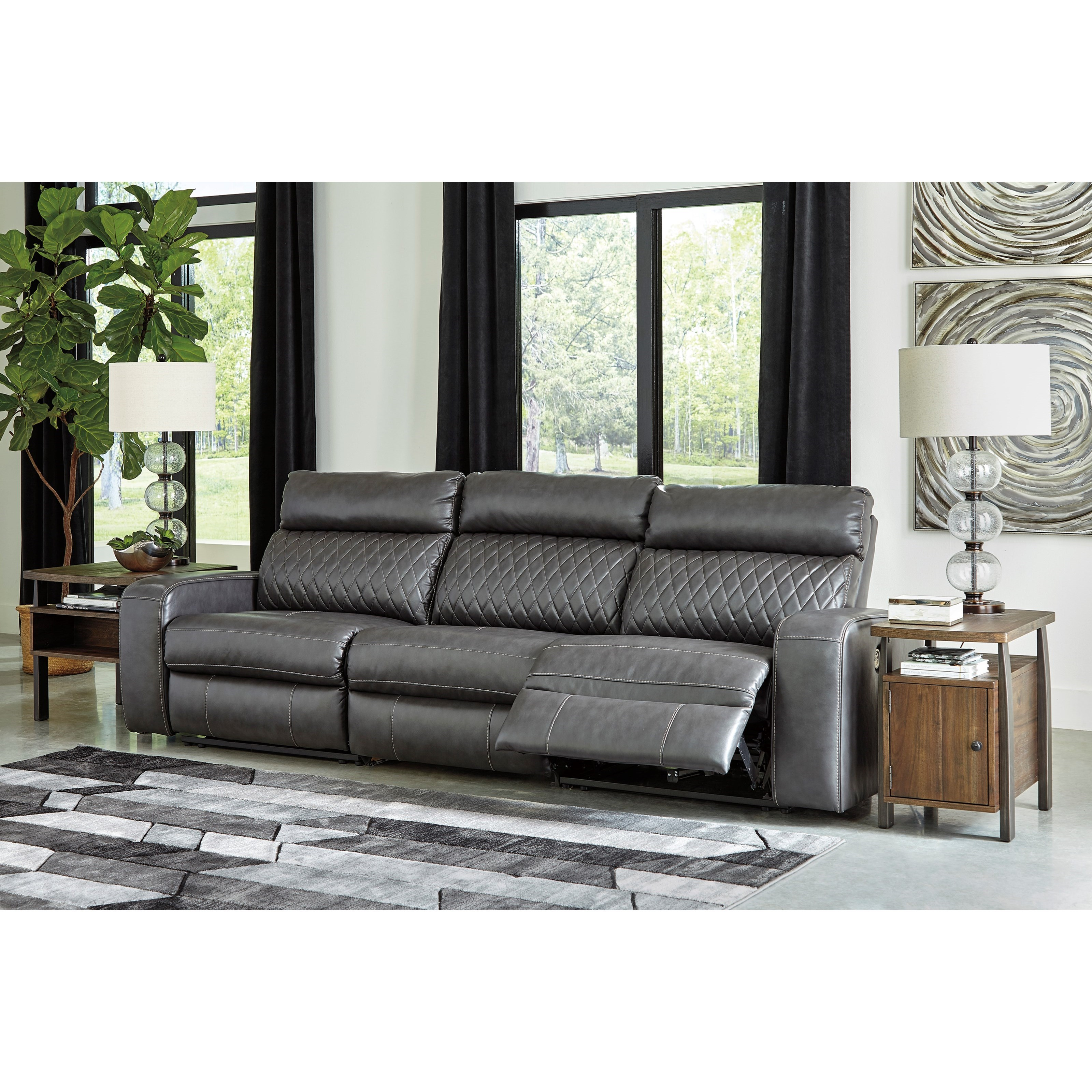 Transitional Style Living Room Furniture: Signature Design By Ashley Samperstone Transitional Power