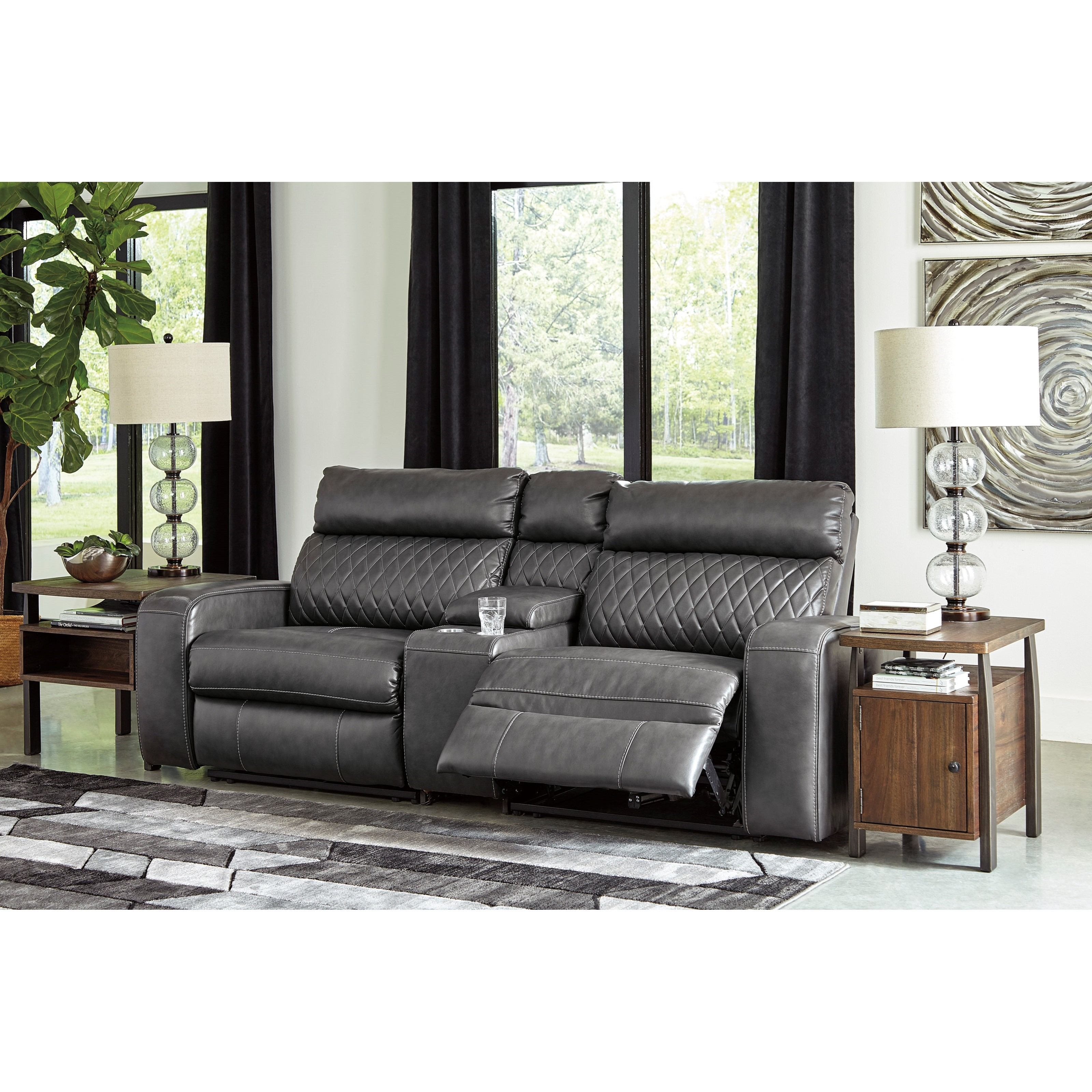B751 Transitional Reclining Sectional With Storage Console: Signature Design By Ashley Samperstone Transitional Power