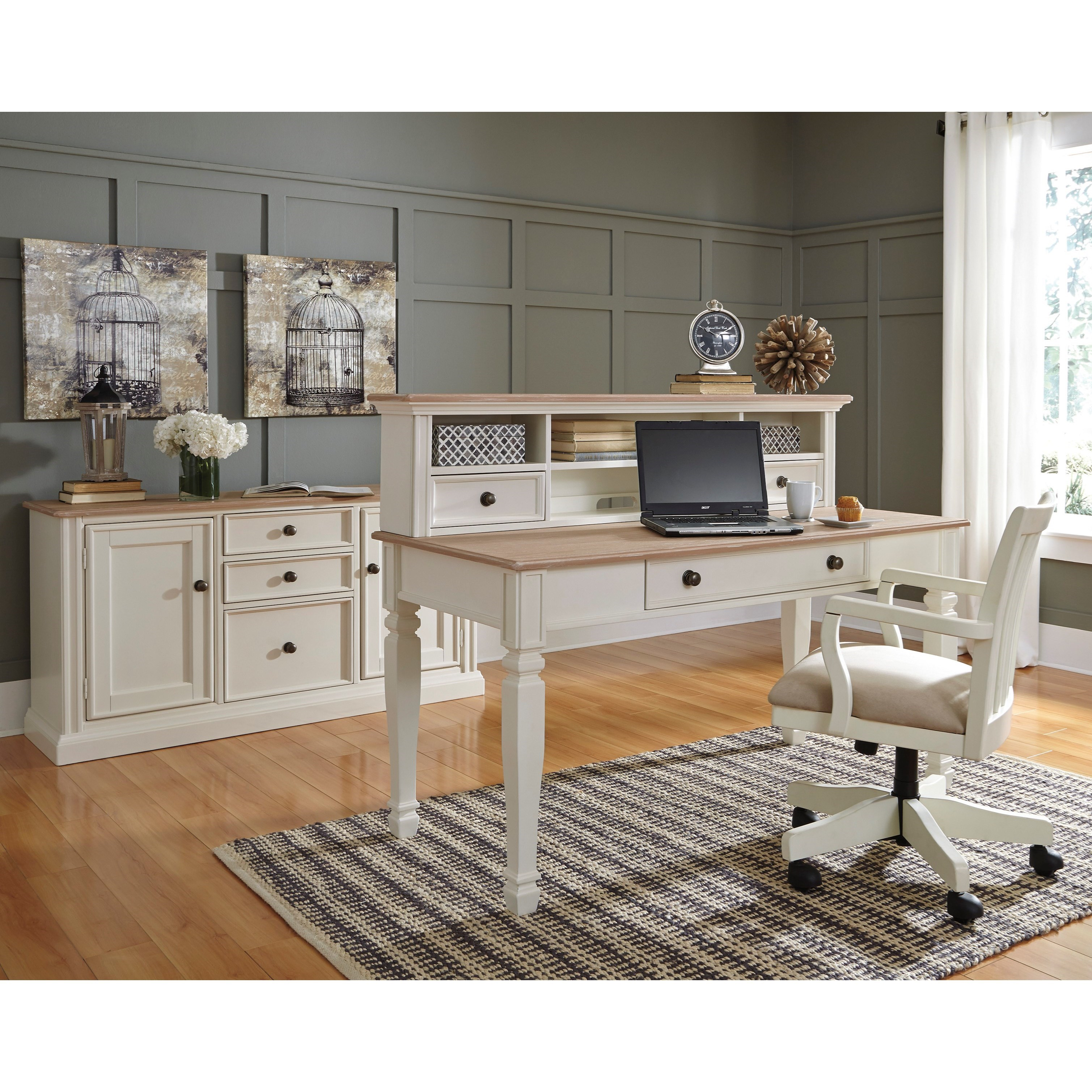 Signature Design By Ashley Sarvanny H583 01a Solid Wood Home Office Desk Chair In Cream Finish