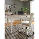 Signature Design by Ashley Sarvanny Solid Wood Home Office Desk Chair in Cream Finish