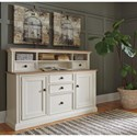 Signature Design by Ashley Sarvanny Two-Tone Large Credenza with Built-In Power Strip & Short Hutch