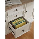 Signature Design by Ashley Sarvanny Two-Tone Large Credenza with Built-in Power Strip & File Drawer