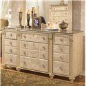 Signature Design by Ashley Saveaha Traditional 9-Drawer Dresser and Elegantly Ornate Framed Mirror Set