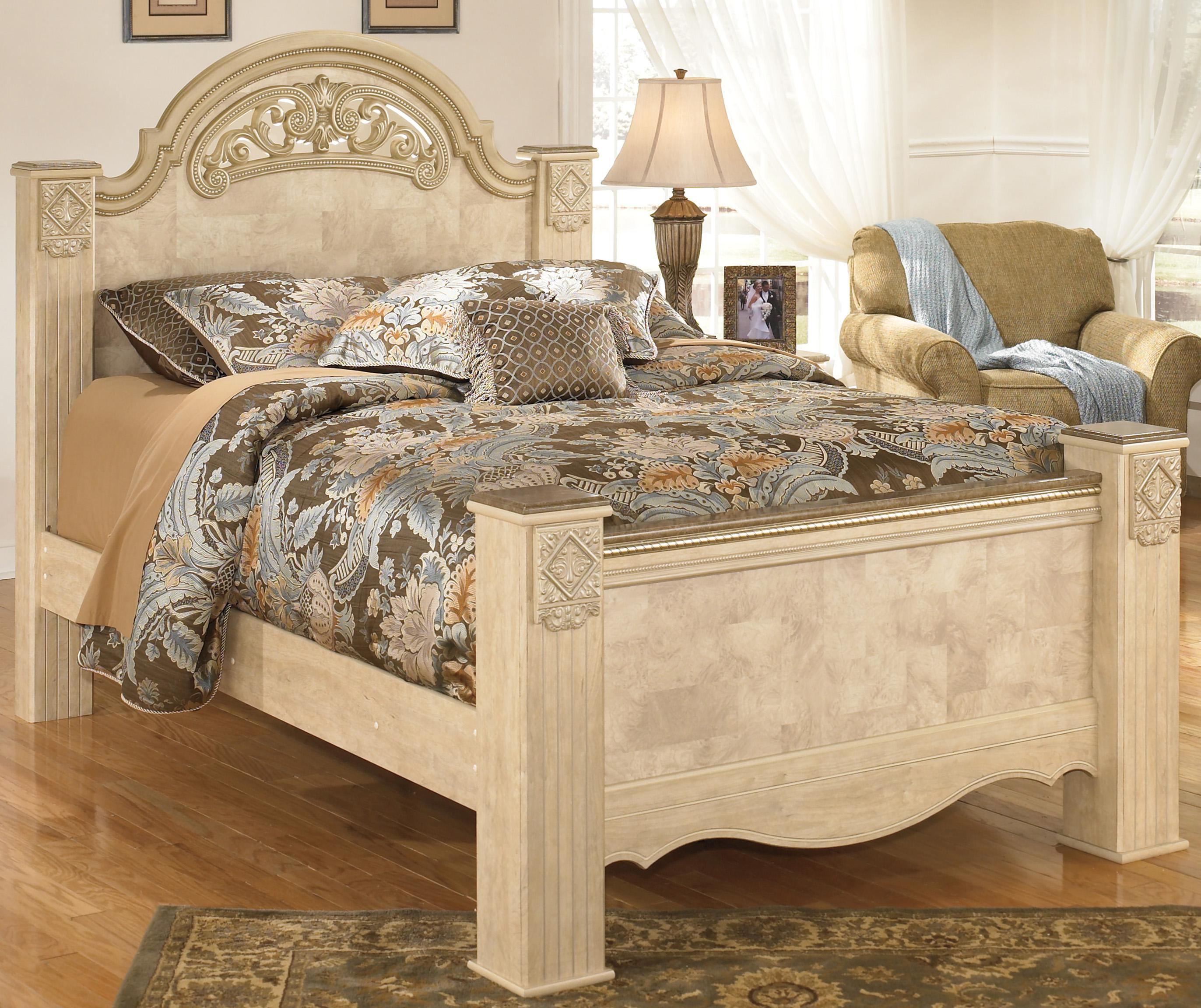 Signature Design by Ashley Saveaha Queen Poster Bed - Item Number: B346-67+64+98