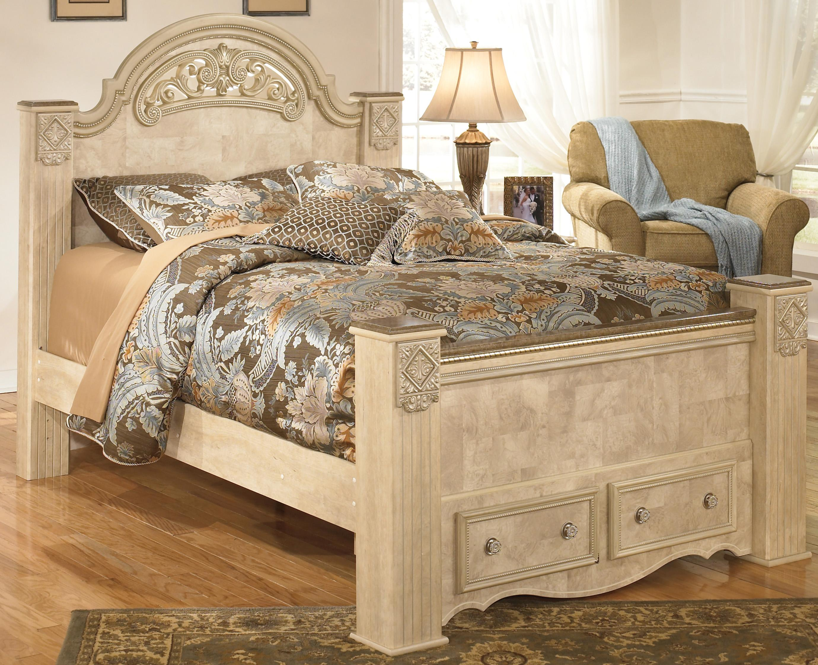 Signature Design by Ashley Saveaha Queen Poster Storage Bed - Item Number: B346-67+64S+50+98