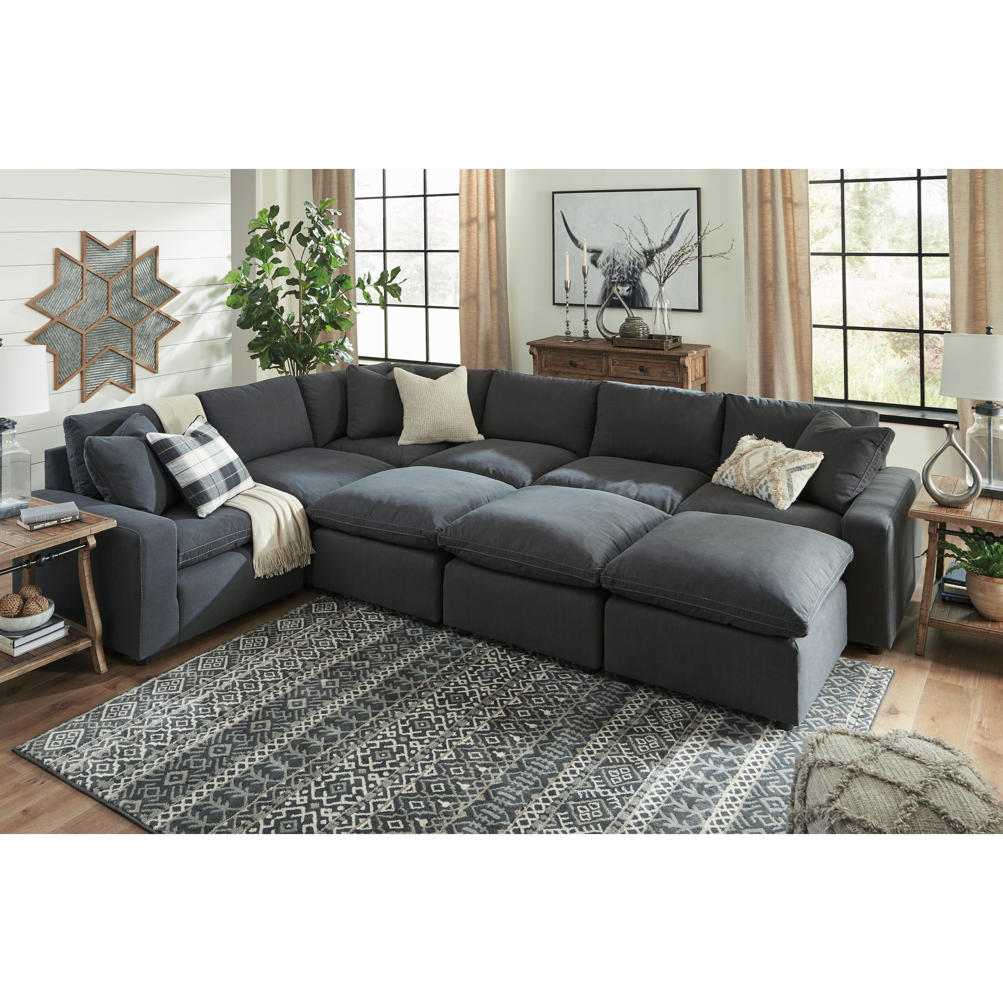 Signature Design By Ashley Savesto Casual Contemporary 9 Piece Sectional Set Wayside Furniture