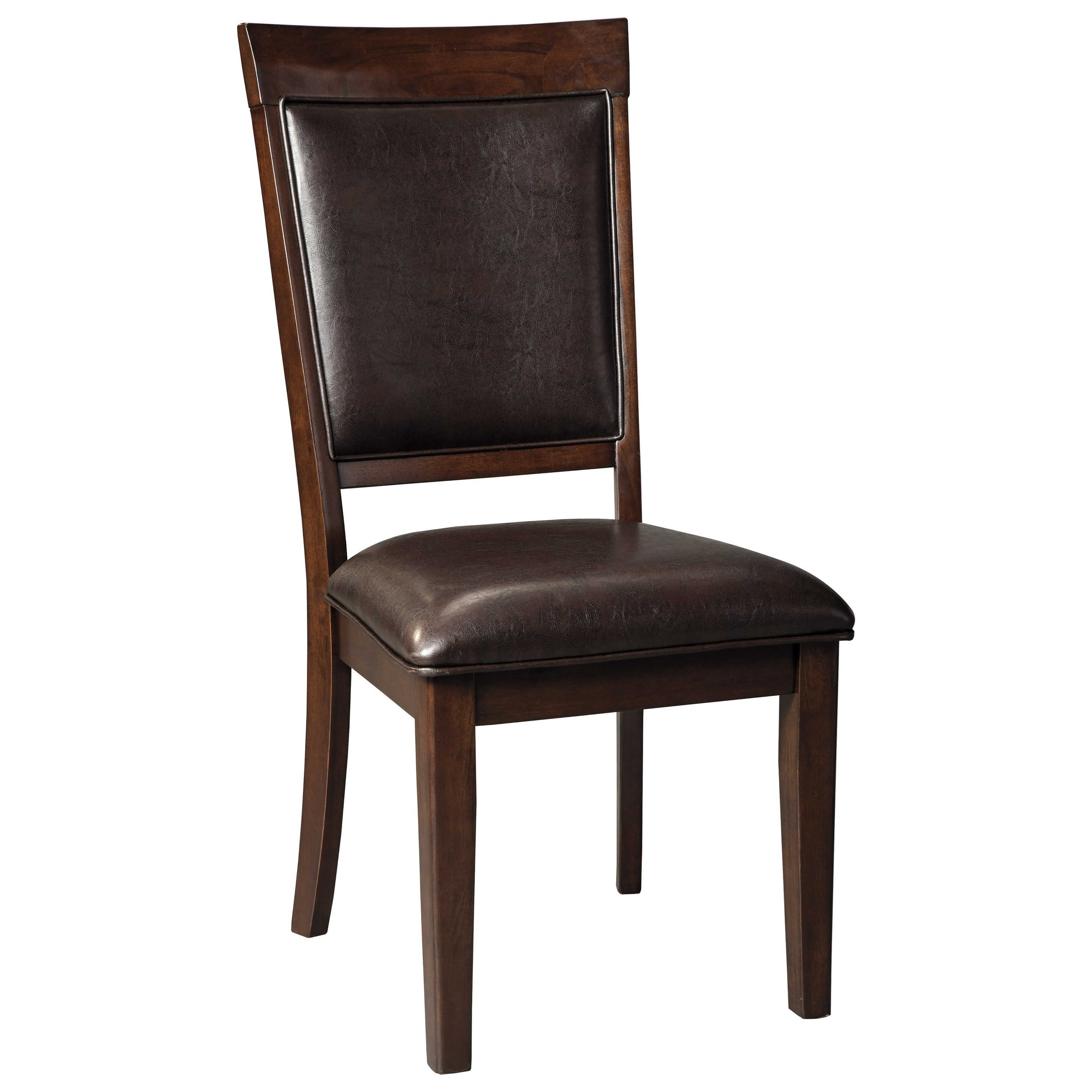 Signature Design By Ashley Shadyn D471 01 Dining Upholstered Side Chair In Brown Faux Leather
